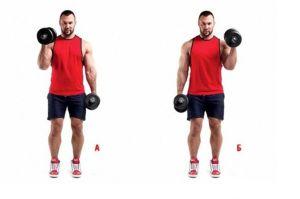 Спортсмен выполняет упражнение молоток